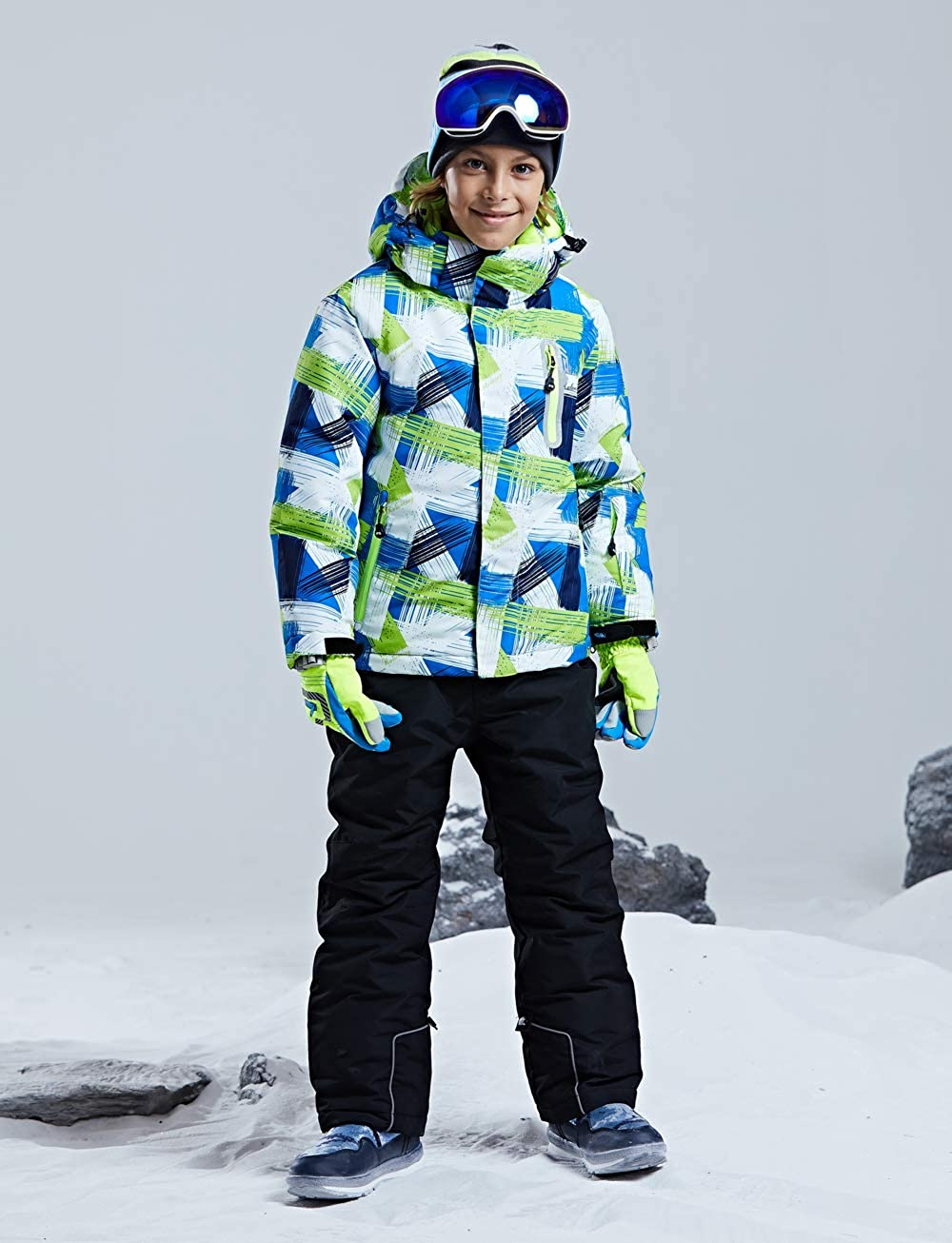 YEEFINE SNOWING Boys 2-Piece Ski Suit Waterproof Snowsuit Hooded Jackets Pants