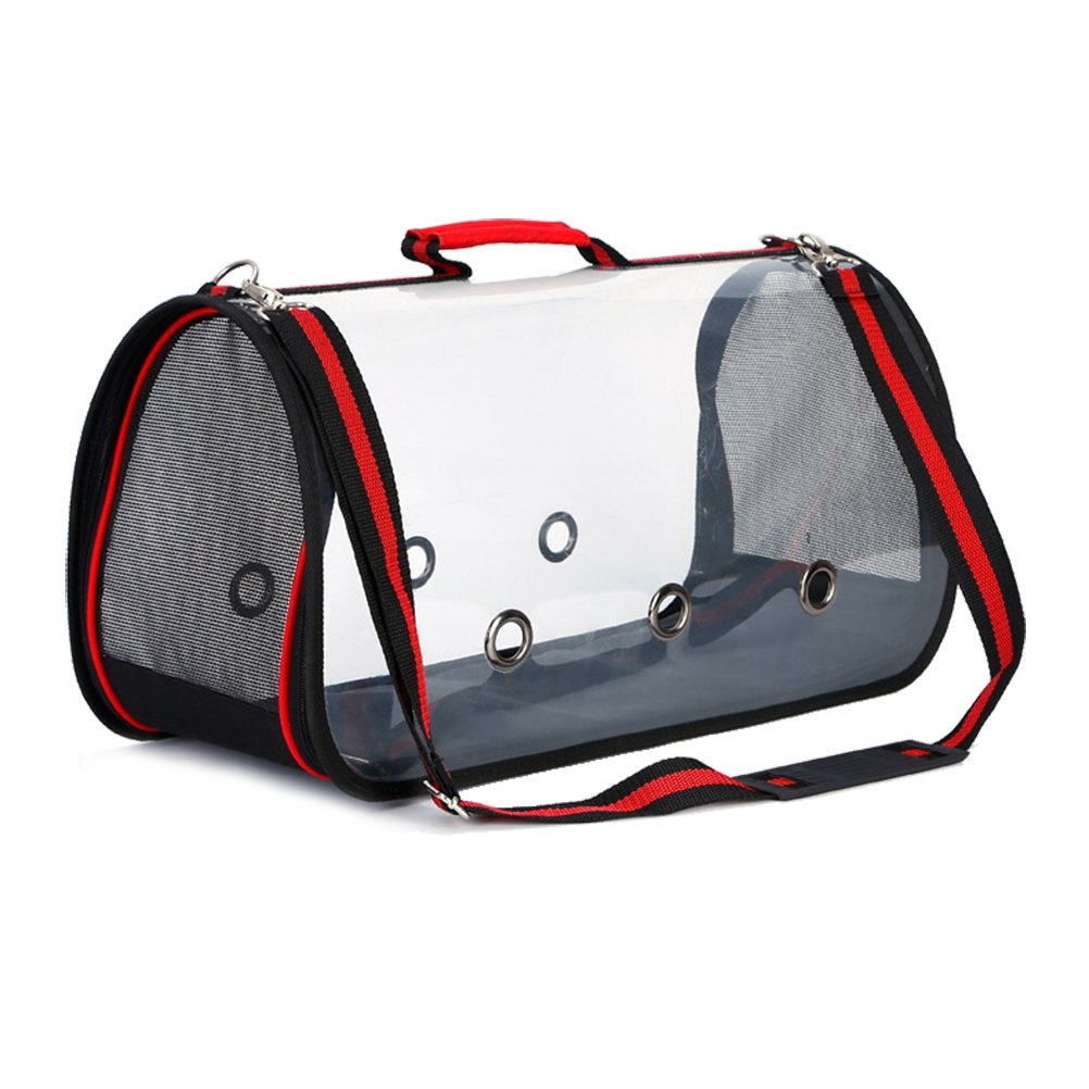 UKCOCO Portable Pet Carrier Bag, Soft Travel Bag with Mesh Windows Transparent Handbag Shoulder Bag, Pet Carrier Backpack for Puppy Dogs Kitty Cats Rabbit Squirrel Size M (Red)