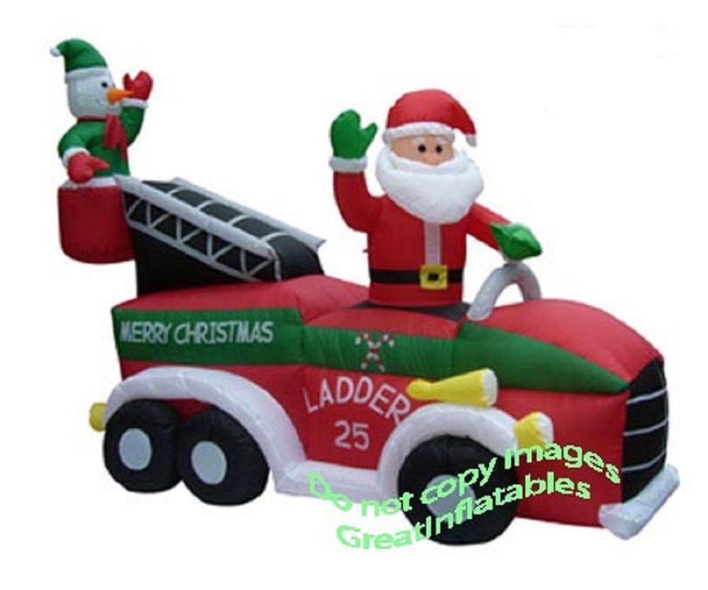 amazoncom christmas inflatable santa on firetruck garden outdoor - Blow Up Christmas Decorations