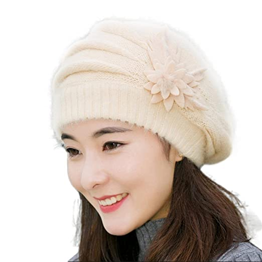 b428e4ef5016b AutumnFall Fashion Womens Flower Knit Crochet Beanie Hat Winter Warm Cap  Beret (Beige)
