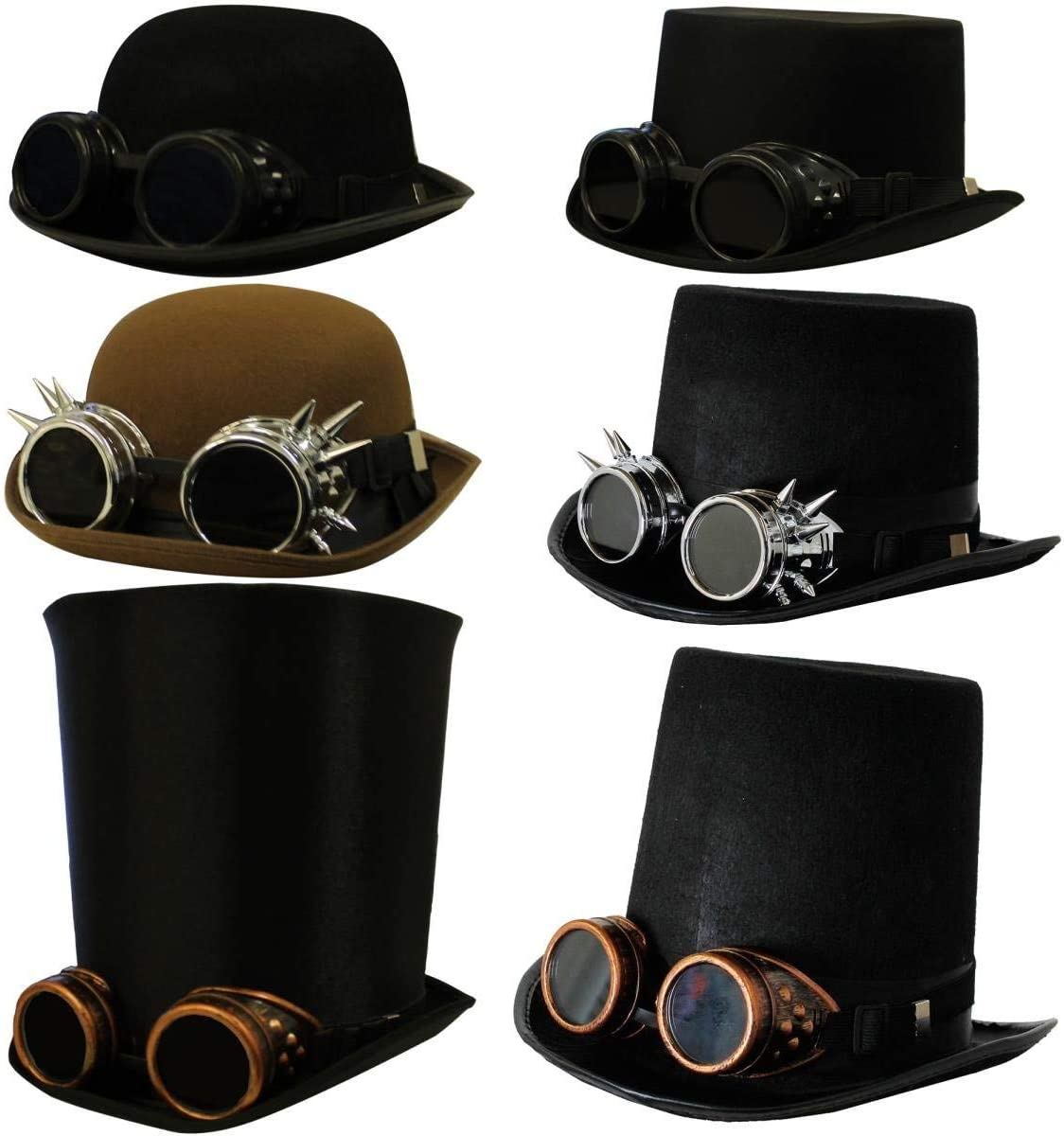 GLOVES VICTORIAN FANCY DRESS 3 PIECE STEAMPUNK STOVEPIPE HAT BRONZE GOGGLES