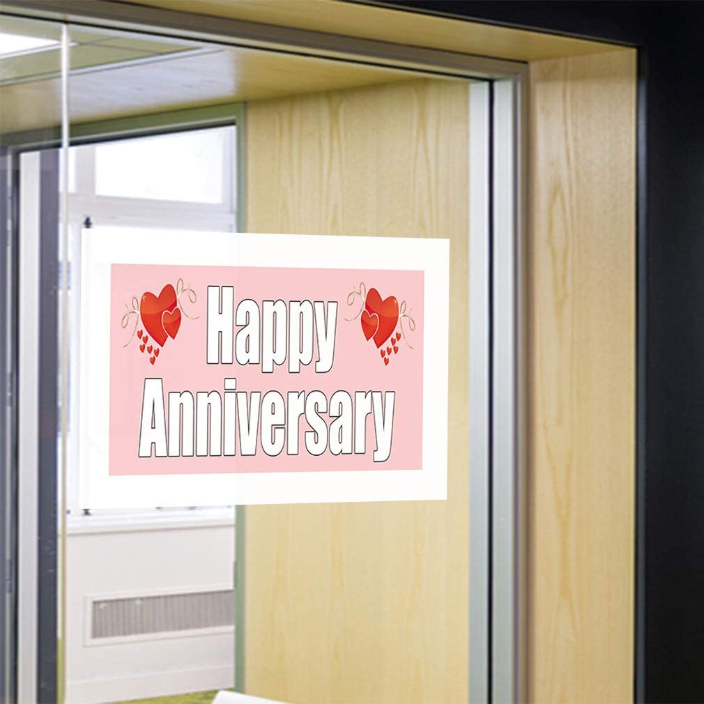 One Sticker Decal Sticker Multiple Sizes Happy Anniversary Lifestyle Hearts Outdoor Store Sign Pink 69inx46in