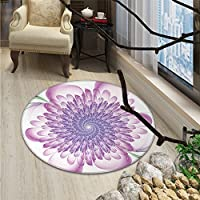 Spires Round Rugs for Bedroom Digital Floral Harmonic Spirals with Flourish Hypnotic Vision Petals Dreamlike PrintOriental Floor and Carpets Violet
