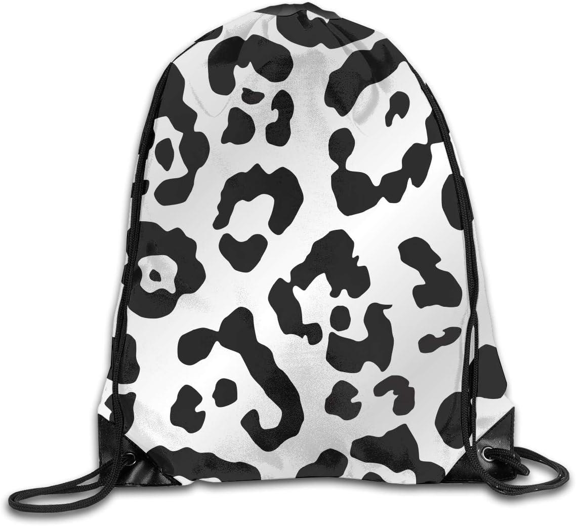 CoolStuff Travel Shoe Bags,Leopard Black Print Drawstring Backpack Hiking Climbing Gym Bag,Large Big Durable Reusable Polyester Footwear Protection