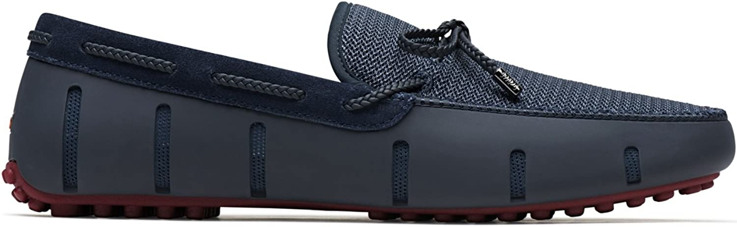 SWIMS Men's Braided Lace Lux Loafer Driver in Navy-Deep Red