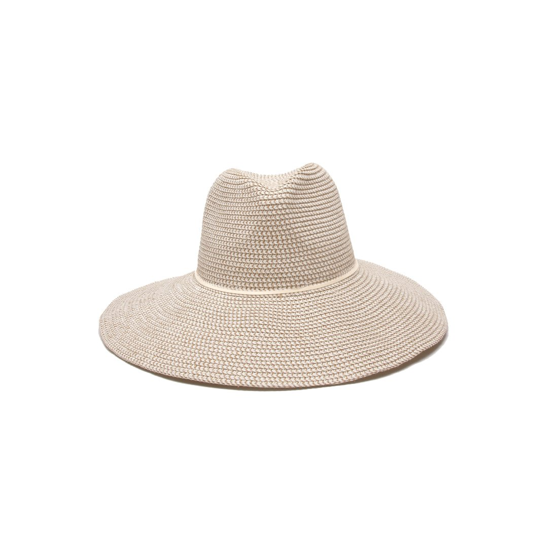 'ale by alessandra Women's Sancho Adjustable Toyo Hat with Leather Trim, White Tweed, Adjustable Head Size