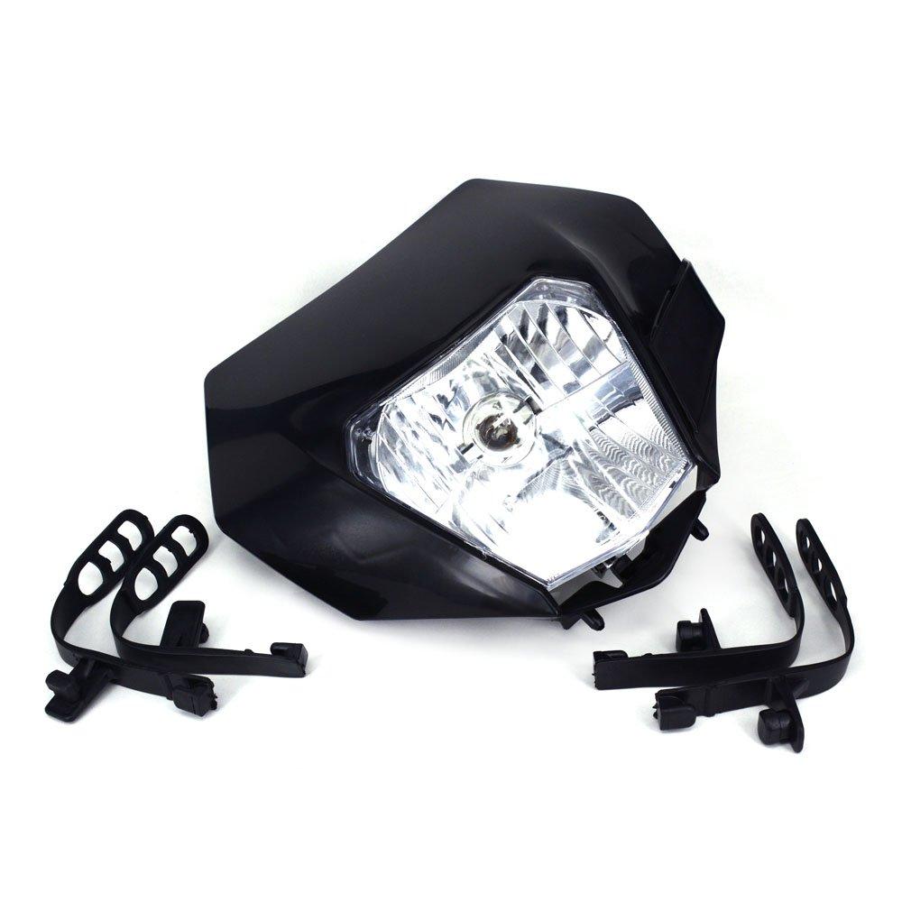 JFG RACING White Universal Headlight Head Lamp Light Fairing Street Fighter Mask Day Running Light For For Honda Yamaha Suzuki Kawasaki