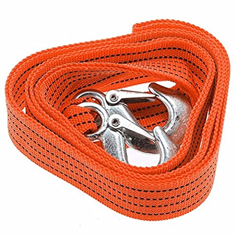 EasGear 3 Tons Car Towing Strap Tow Cable Rope with Hooks 10 Feet Emergency Heavy Duty Recovery Strap - - Tow Rope Hook