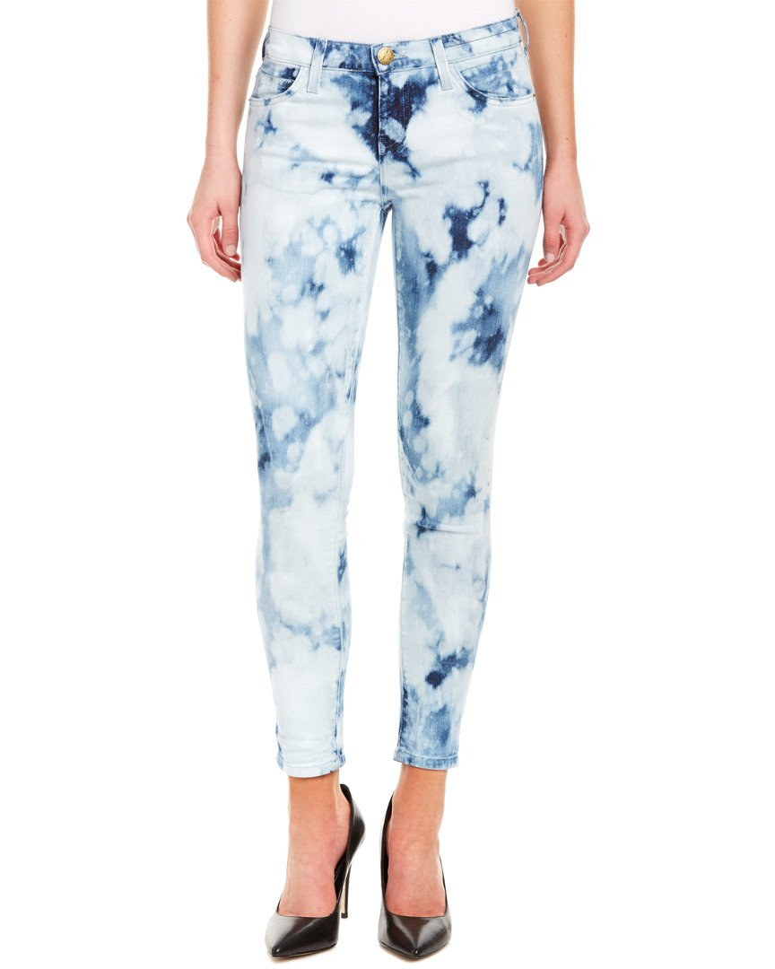 Current/Elliott Womens The Stiletto Indigo Summer Tie Dye Skinny Leg, 25, Blue