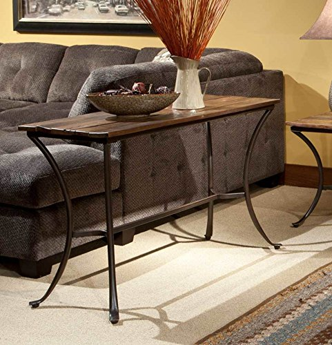 - Emerald Home Innsbruck Medium Brown Sofa Table with Solid Wood Top And Curved Metal Base