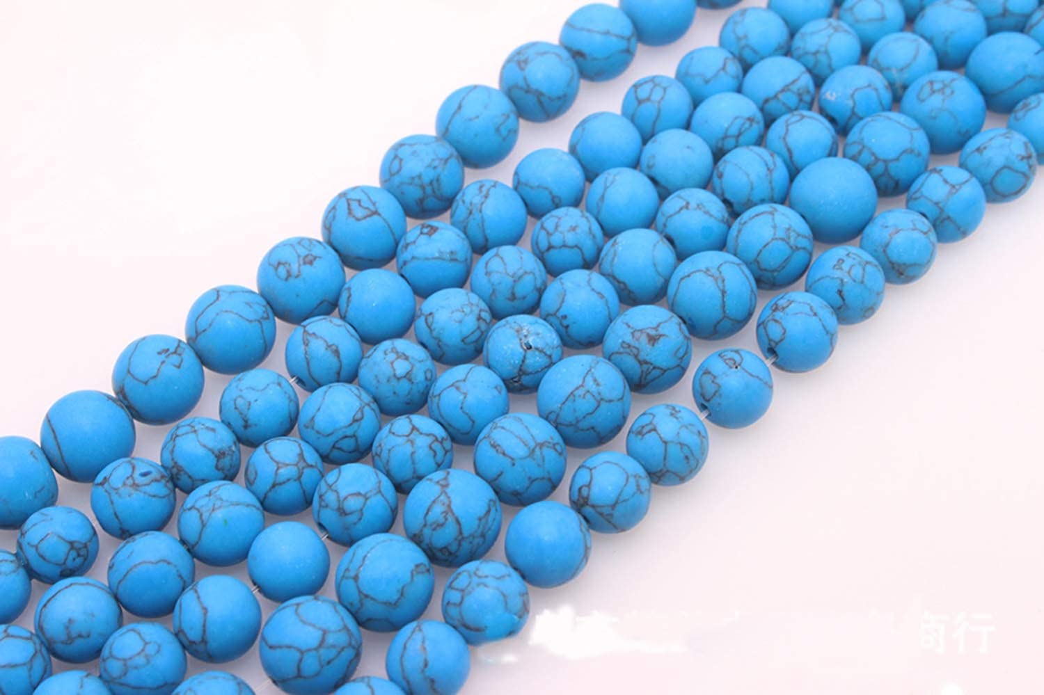 Natural Matten Dark Blue turquoise Round Loose Beads for Bracelet Necklace Earrings Jewelry Making Crafts Design Healing