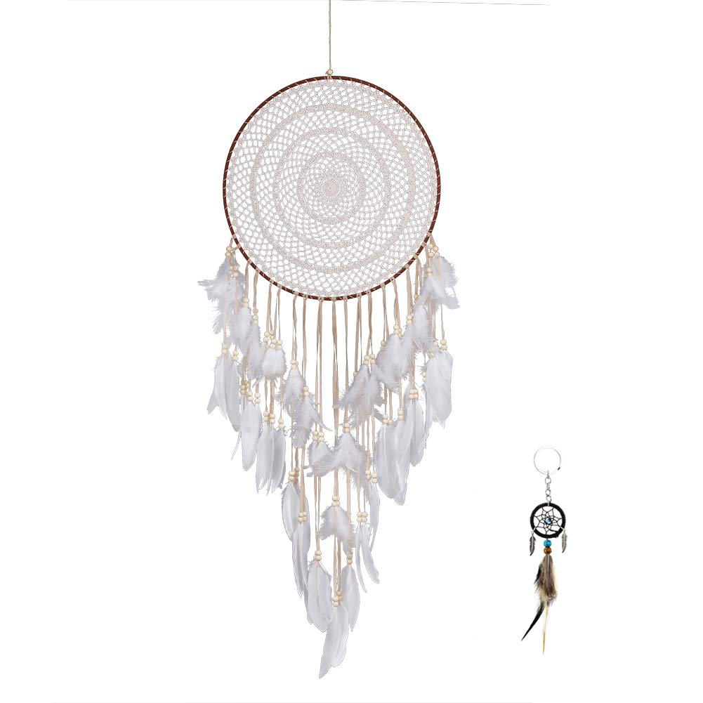 Malicosmile Big Dream Catcher, Handmade Extra Large White Feather Dream Catchers for Bedroom Wall Hanging Decoration Wedding Decor with a Dream Catcher Keychain Gift by Malicosmile