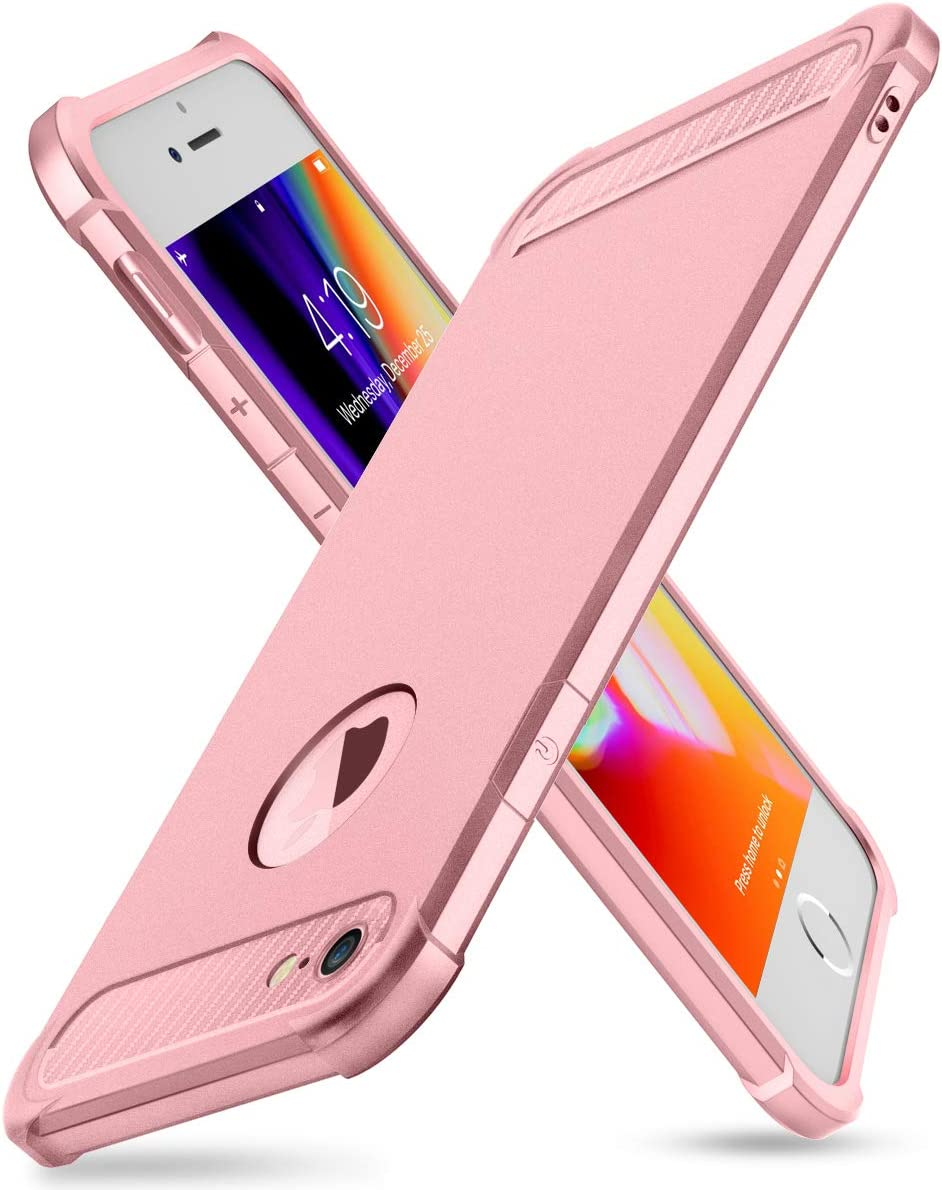 iPhone 6/6S Case with Card Holder and [ Screen Protector Tempered Glass x2Pcs] SUPBEC Protective Ultra-Thin-Slim Cover with Silicone TPU Shockproof Rubber Wallet Case for iPhone6 / iPhone6S-Rose Gold