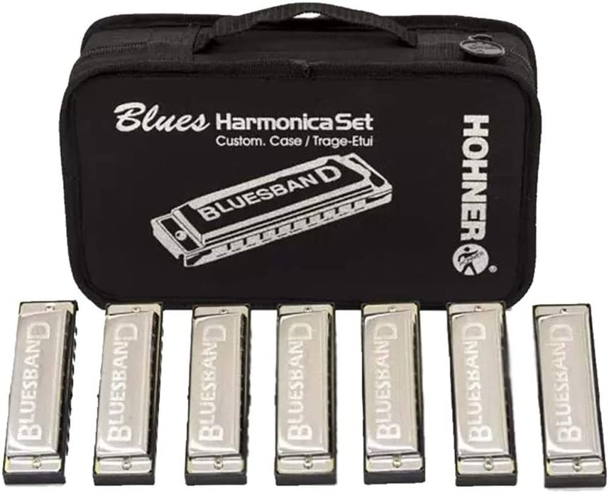 Bluesman Vintage Harmonica Boxed set of 7 harmonicas Gold edition