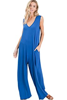 6ab42e8549622 Annabelle Women's Deep V Neck Loose Fit Full Length Tank Top Sleeveless  Hoodie Jumpsuit with Pockets