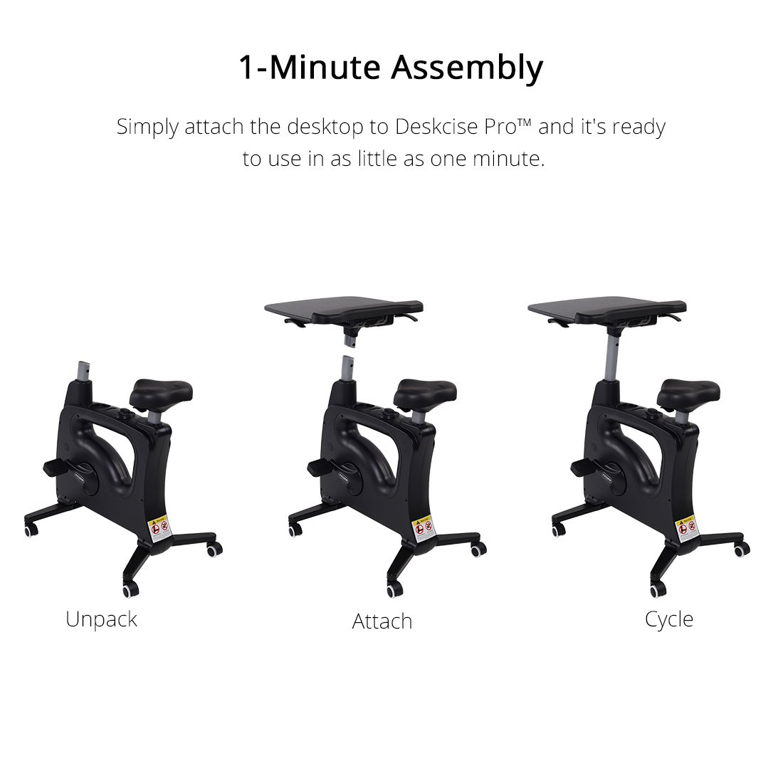 FLEXISPOT Home Office Upright Stationary Fitness Exercise Cycling Bike Height Adjustable Standing Desk - Deskcise Pro Black by FLEXISPOT (Image #3)