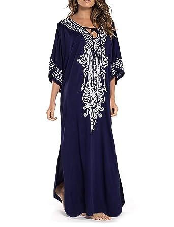 22d52d6b855f Ailunsnika Women Sexy V Neck Lace Up Embroidery Kaftan Robe Dress Side Slit  Long Beach Swimwear