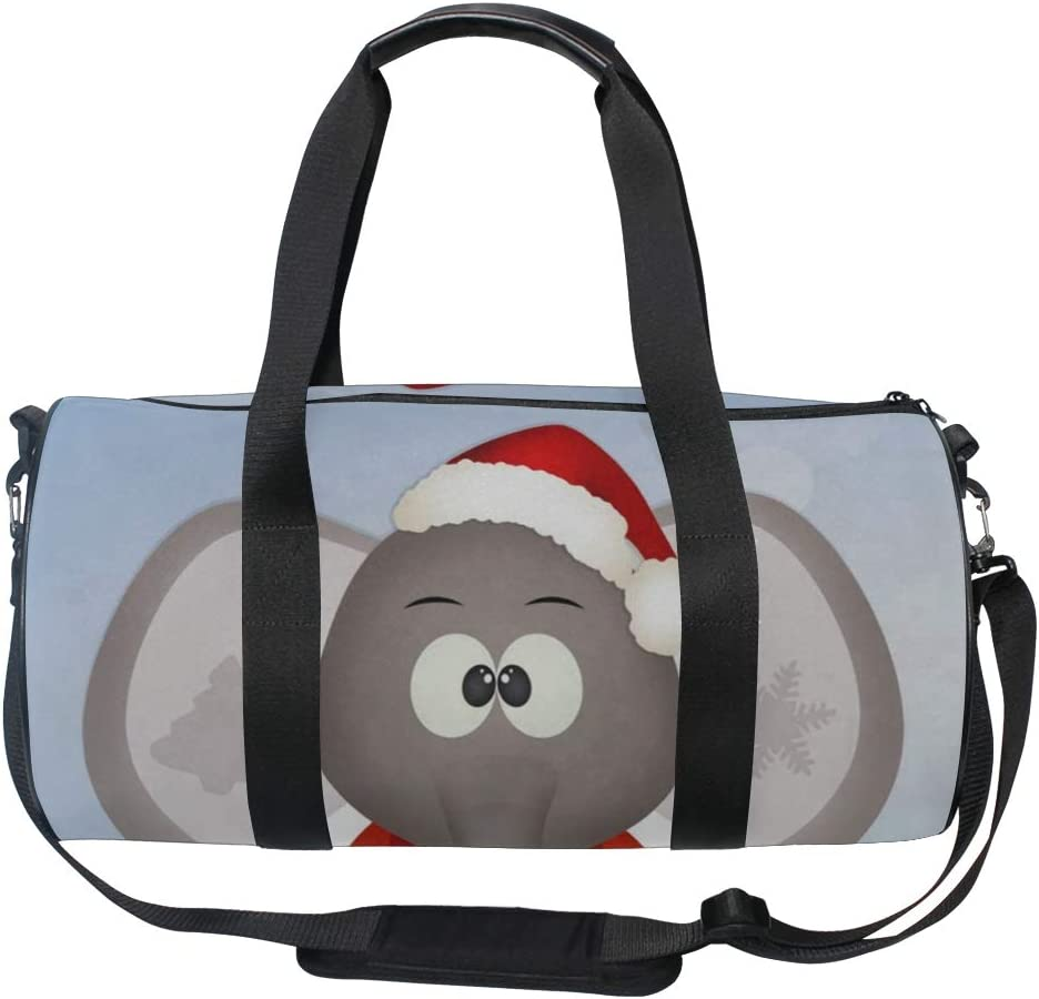 Duffel Bags Christmas Hat Elephant Womens Gym Yoga Bag Small Fun Sports Bag for Men