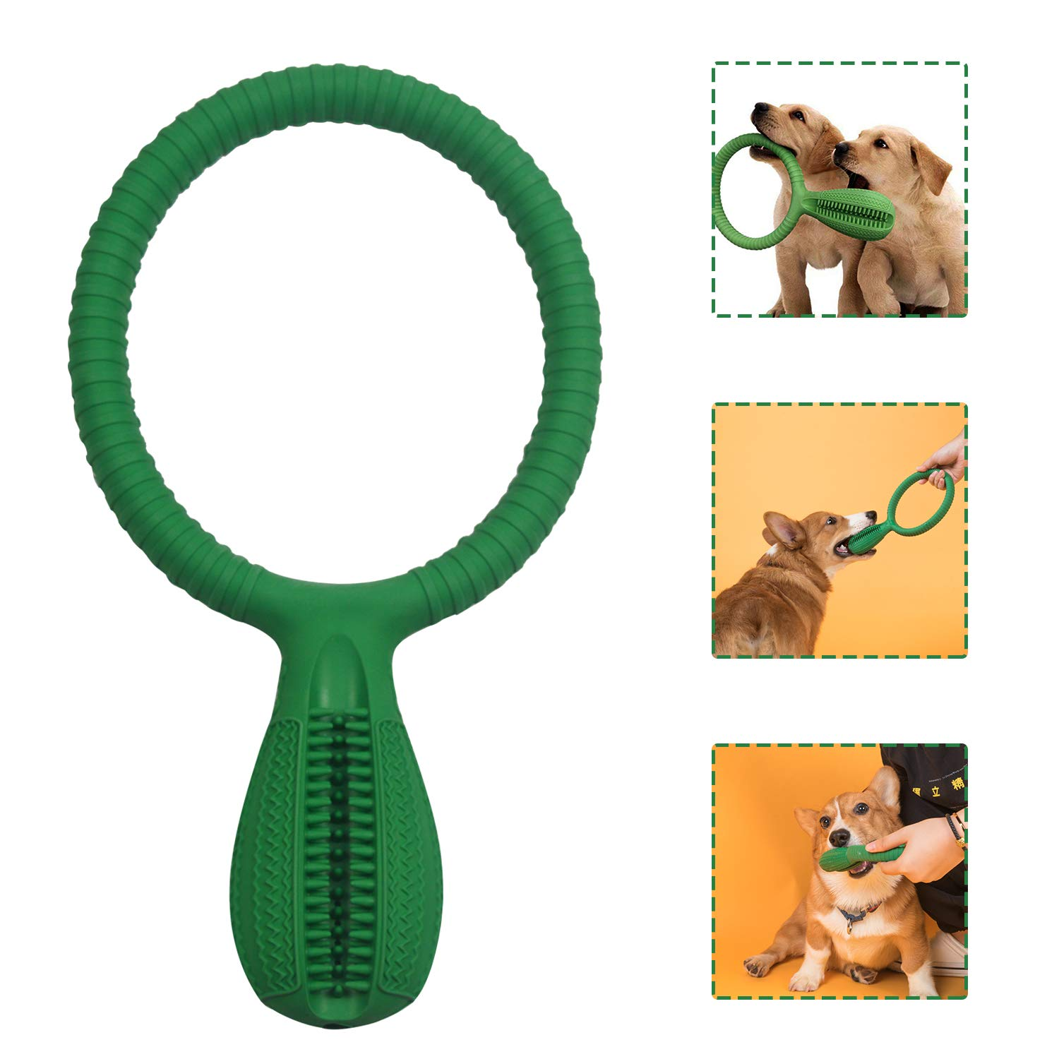 GuanZhon Dog Toothbrush Chew Toys, Upgraded Puppy Dog Teeth Cleaning Stick, Nontoxic Natural Rubber Interactive Toothbrush Toys with Round Handle for Dog Pets by GuanZhon