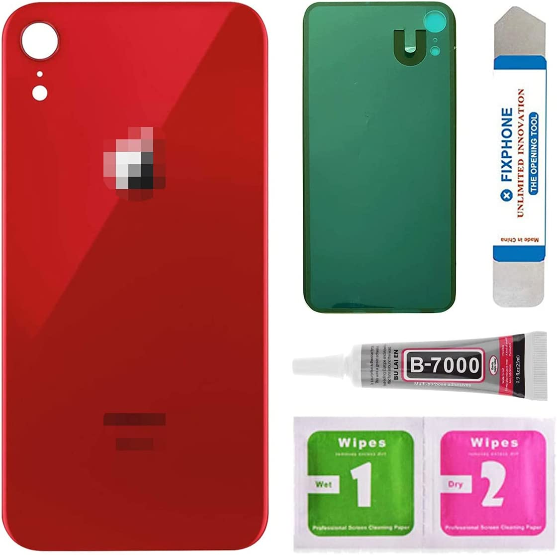 Afeax Back Glass Cover Replacement for iPhone XR 6.1 Inches All Carriers with Pre-Installed Adhesive and Repair Tool Kits (Red)