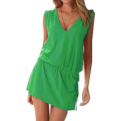 Frauen Strand Tunika Kleid, Frauen Casual Beachwear Bademode Bikini Cover Up  Sommer Ärmellos Minikleid Bluse 3c2930aa01