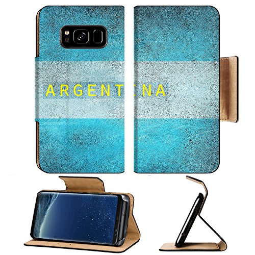 MSD Premium Samsung Galaxy S8 Plus Flip Pu Leather Wallet Case Vintage flag of Argentina IMAGE - Usa To Shipping From Argentina