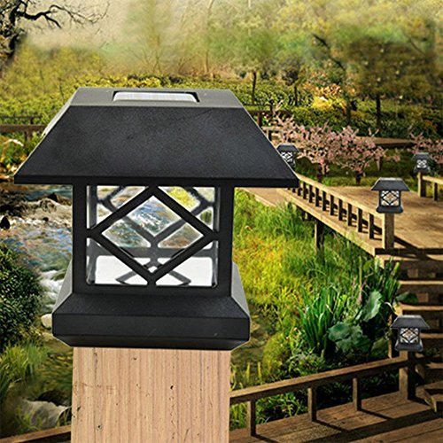 Zehui Outdoor Garden Solar LED Post Deck Cap Auto Sensor Fence Light Landscape Lamp Solar Fence Post Cap Lights Warm White Light by Zehui