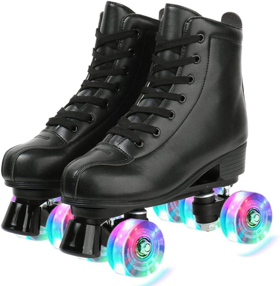 Roller Skates for Women Four-Wheel Shiny Roller Skates Outdoor//Indoor PU Leather Roller Skates for Girls Unisex with Shoe Bag