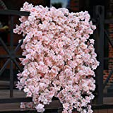 PARTY JOY Artificial Cherry Blossom Garland Hanging Vine Silk Garland Wedding Party Decor,(2, Pink)