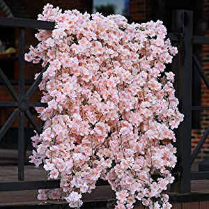 PARTY JOY Artificial Cherry Blossom Hanging Vine Silk Garland Fake Wreath Wedding Party Decor,Pack of 2 52