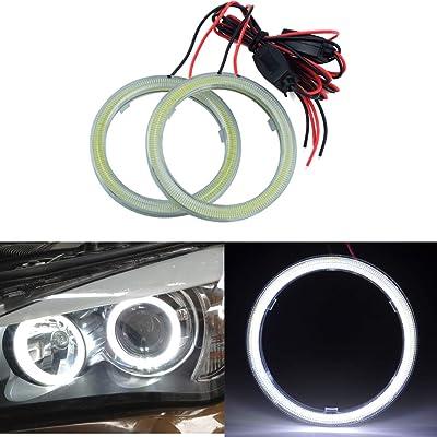 TIDO 2 Pcs White 60MM COB Angel Eyes Car Halo Ring for Headlight,COB DRL Halo Ring Angel Eyes for Motorcycle,12V: Automotive