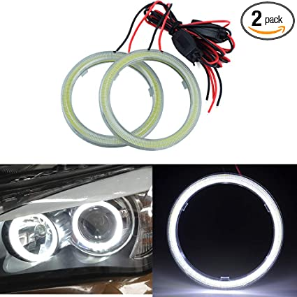 1pair Auto Halo Rings Angel Eye COB Chips Headlight DRL LED for Motorcycle Car 80mm