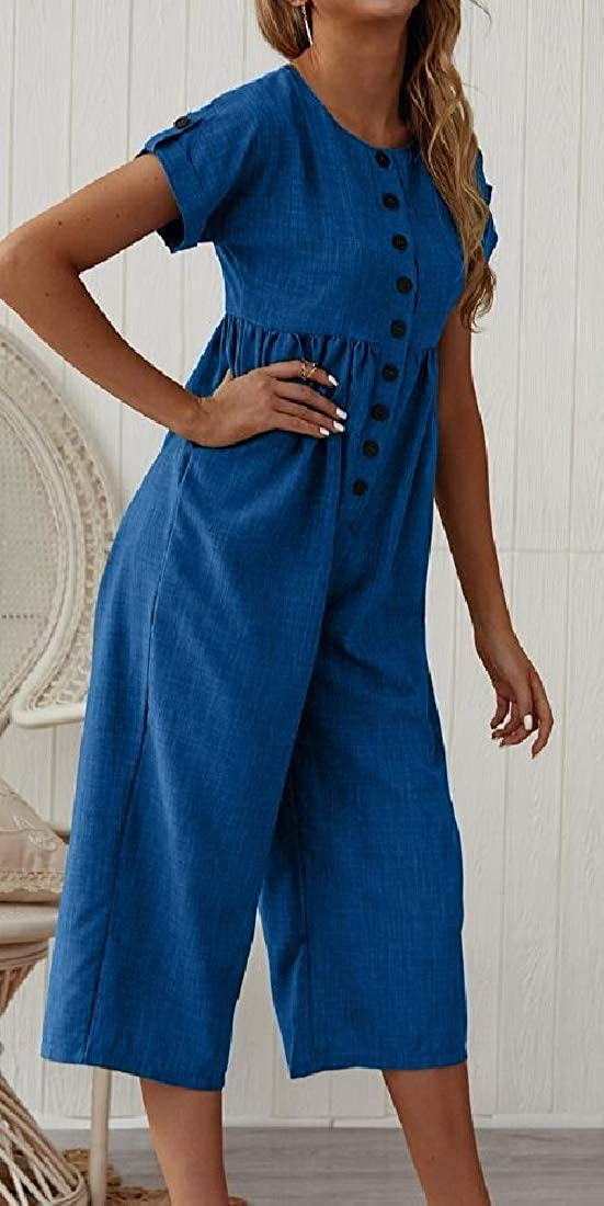 pipigo Womens Round Neck Cotton Linen Relaxed Button Up Pleated Wide Leg Ankle Jumpsuit Romper