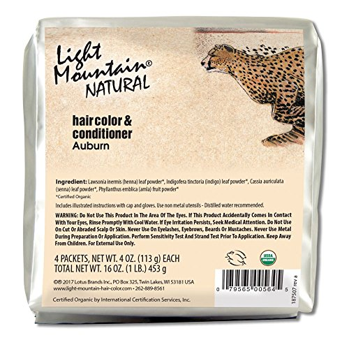 Light Mountain Natural Bulk Hair Color and Conditioner, Auburn, 16 Ounce