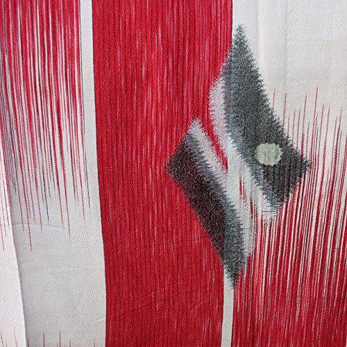 Japanese Meisen Kimono Silk Red,White,Silver Metallic Medallion VINTAGE FABRIC 121 x 14 (Red Silk Medallion)