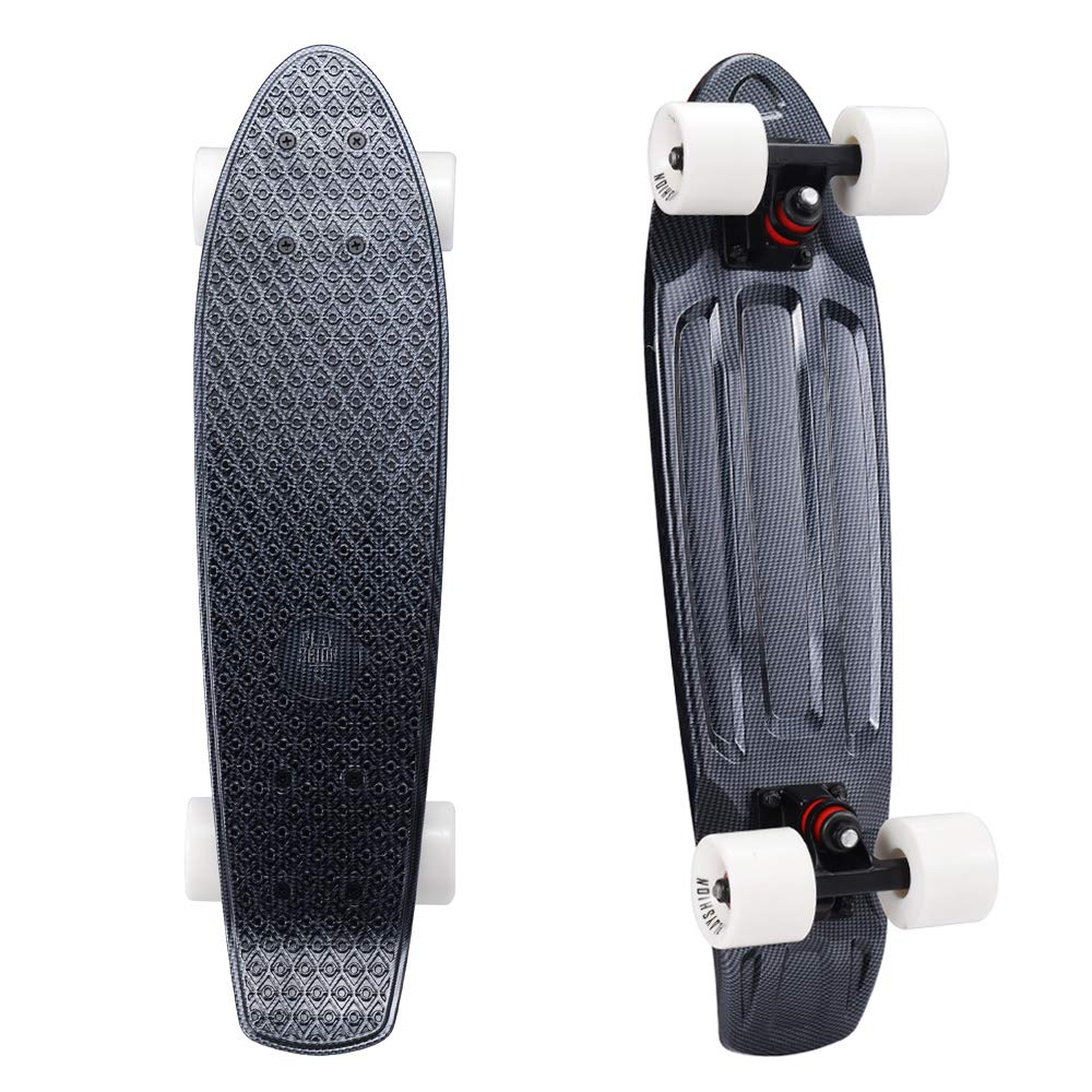 Playshion Complete 22 Inch Mini Cruiser Skateboard for Beginner with Sturdy Deck Carbon
