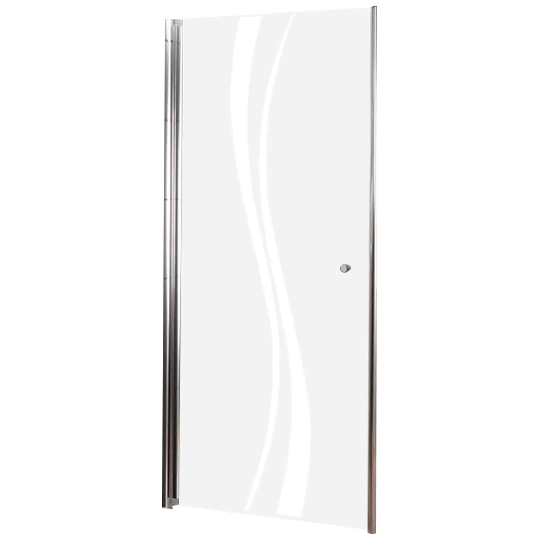 Schulte porte de douche pivotante en niche, paroi anti-calcaire, verre sécurit décor liane, 80x192 cm