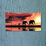 Nalahome Sports Towel Elephant Silhouettes by A River Africa Animals Wildlife Adventure Landscape Fast Drying, Antibacterial L35.4 x W11.8 inch