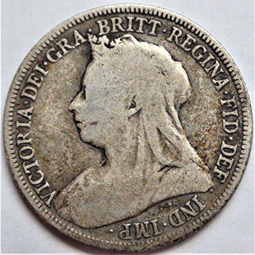 UK 1887-1902 European Great Britain Victoria Antique British Silver Coin Shilling Good