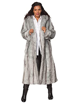 45ccb4b533f Roamans Women s Plus Size Full Length Faux-Fur Coat with Hood at Amazon Women s  Clothing store