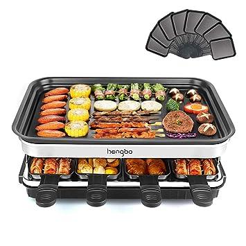 Raclette Grill 8 Personas • Grill de Sobremesa • Barbacoa-Party • Control de Temperatura Variable • 8 x Mini-sartenes y 1 x Espátulas de Madera • ...