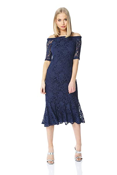 b9c79bc71db Roman Originals Women Lace Midi Bardot Dress - Ladies Christmas Party Off  The Shoulder Frill Hem 3 4 Length Sleeve Fitted Classy Dresses  Amazon.co.uk   ...