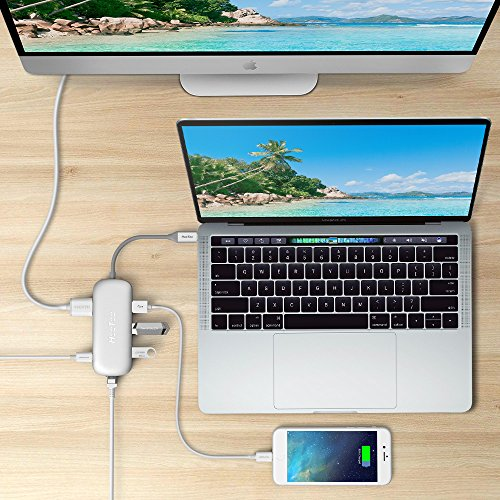 HooToo USB C Hub With Ethernet, HDMI, 100W Power Delivery, 3 USB ports USB C Network Adapter for MacBook Pro & Type C Windows Laptops - Silver by HooToo (Image #6)