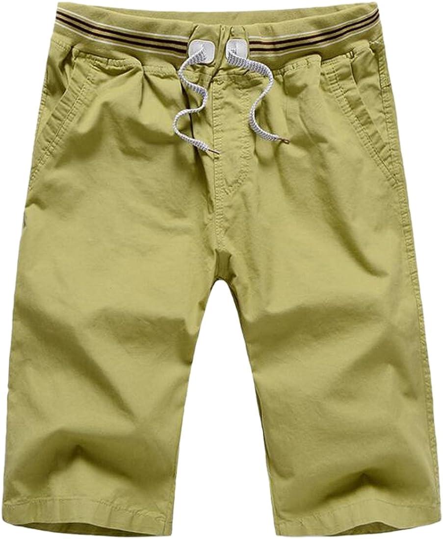 CMCYY Mens Basic Straight Leg Cozy Stretchy Classic Fit Drawstring Cotton Shorts