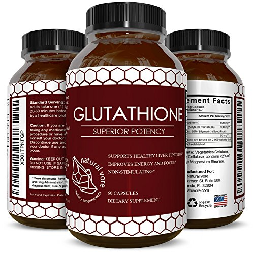(Pure Glutathione Supplement Natural Skin Whitening Pills for Men and Women Pure Antioxidant for Anti Aging Benefits 500 mg Reduced Form Glutathione with Milk Thistle Extract 60 Caps)