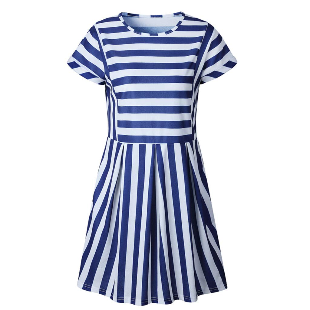 Euone Dress Clearance, Woman Summer Casual Dress Clearance Striped Print Short Sleeve Mini Sundress Women Daily Brief Beach O-neck Dresses Plus Size