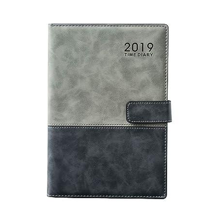 Agenda 2019 A5 1 jour par page avec couverture en cuir PU pour gestion du temps Carnet 8,3 x 5,7 pouces - gris
