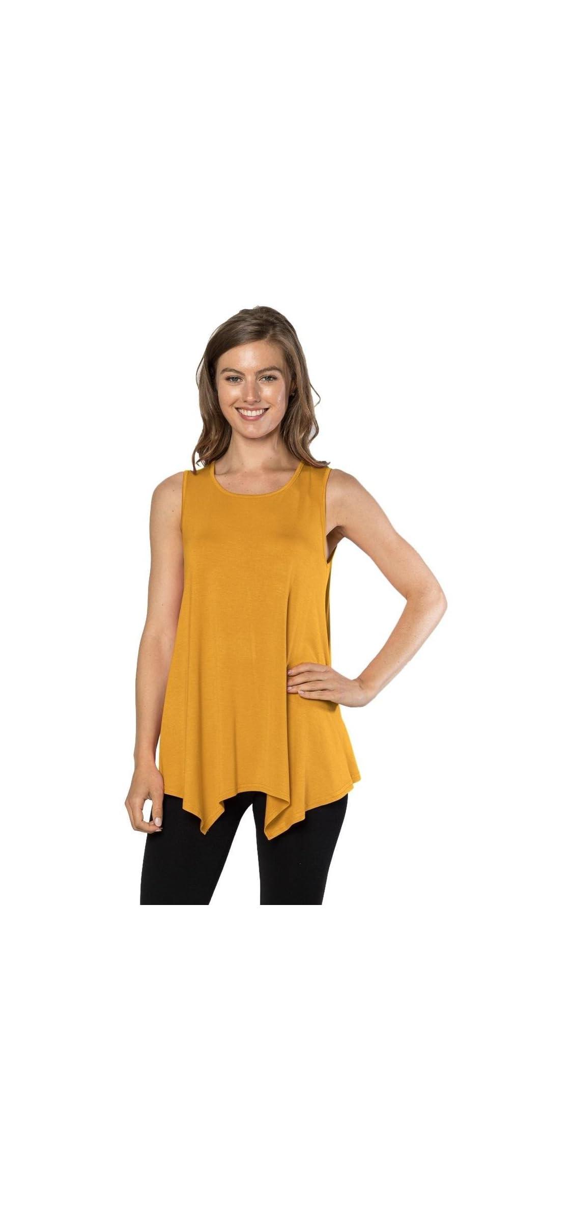 Womens Tunic Tank Top T-shirt - Loose Basic Sleeveless