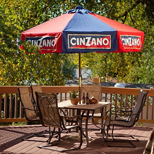Heininger 1377 Cinzano Red and Blue 9' Market Patio Umbrella