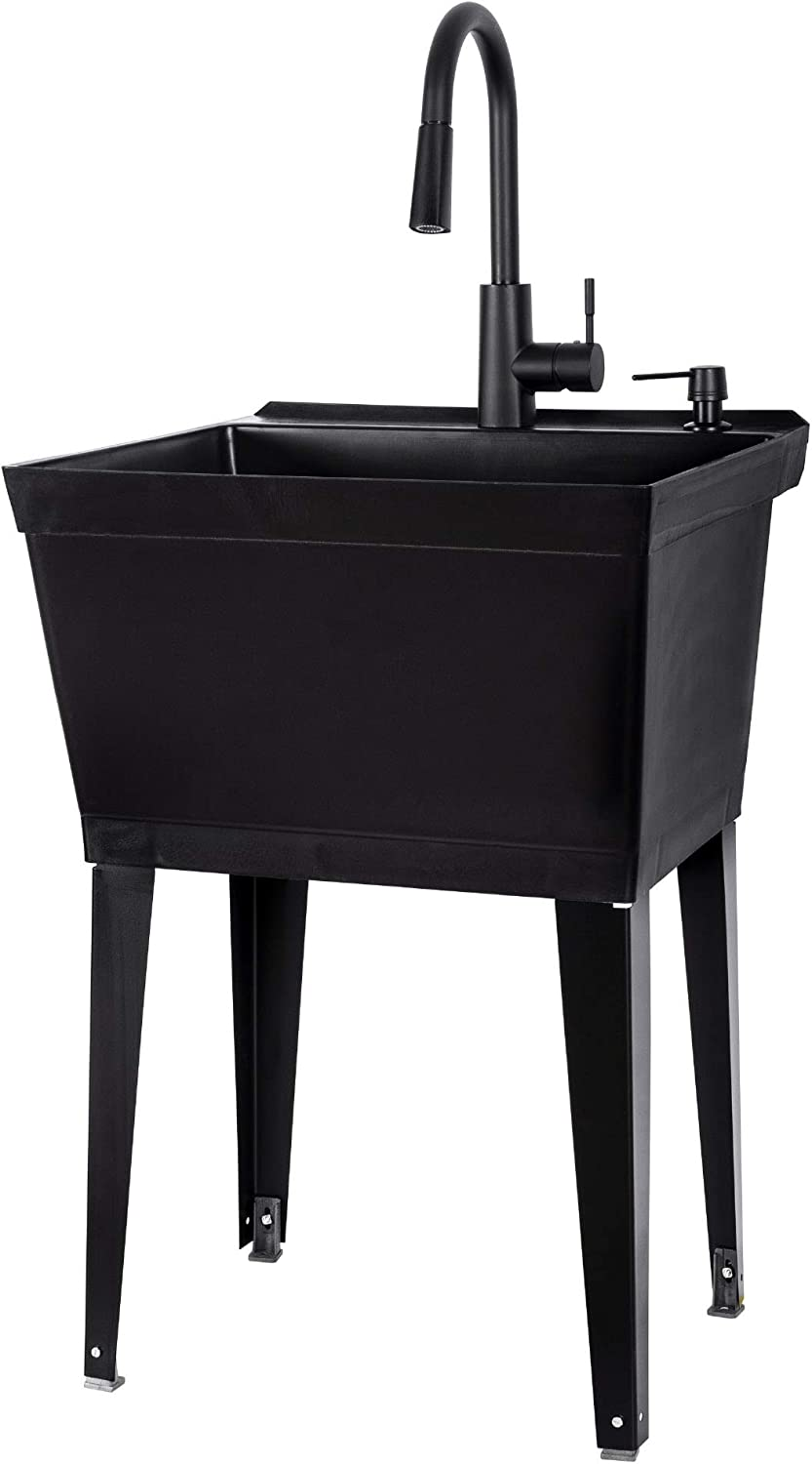 All Black Utility Sink with High Arc Black Kitchen Faucet By VETTA - Pull Down Sprayer Spout, Heavy Duty Slop Sinks for Washing Room, Basement, Garage, or Shop, Free Standing Laundry Tub Deep Plastic